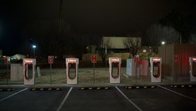 Estaciones de carga automotrices de Telsa Foto de archivo libre de regalías