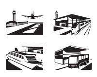 Estaciones de transporte con los vehículos en perspectiva Fotografía de archivo