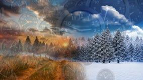 Estaciones del invierno y del otoño almacen de metraje de vídeo