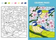 Estaciones que colorean la página para los niños, mes de abril libre illustration