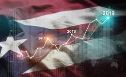 Estadística cada vez mayor 2019 financiero contra Puerto Rico Flag fotografía de archivo libre de regalías