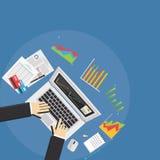 Estadísticas de asunto Concepto del analista del negocio stock de ilustración