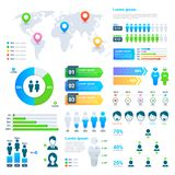 Estadísticas de negocio gráfico, carta de la población del demographics, infographic moderno de la gente stock de ilustración