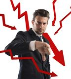 Estadísticas de negocio negativas Imagen de archivo libre de regalías