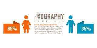 Estadísticas de negocio para la carta infographic de la población del demographics Ejemplo del vector del icono del hombre y de l stock de ilustración