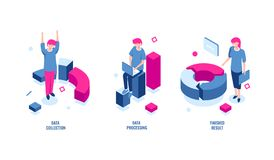 Estadísticas de negocio, recopilación de datos e icono isométrico de proceso de datos, resultado acabado, diagrama de carta, rent libre illustration