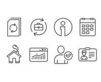 Estadísticas del calendario, del sitio web e iconos de documento de la actualización Fotografía de archivo