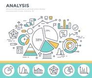 Estadísticas del gráfico de negocio, análisis de datos, informe financiero, ejemplo del concepto del stats del mercado Fotografía de archivo libre de regalías