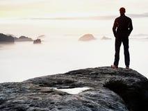 Estada da silhueta do homem no pico afiado da rocha Satisfaça o caminhante apreciam a vista Homem alto no penhasco rochoso imagens de stock