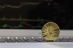 Estada dourada do bitcoin no fundo da carta foto de stock royalty free