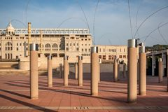 Estadi Olímpic Lluís Companys Stadium in Barcelona at sunset stock photography