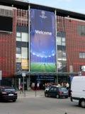 Estadio antes del emparejamiento de Champions League del balompié Imagen de archivo libre de regalías