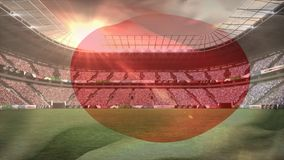 Estadio con la bandera japonesa libre illustration