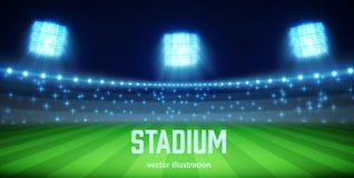 Estadio con las luces y las tribunas EPS 10 Foto de archivo libre de regalías