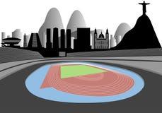 Estadio con Rio Skyline On The Horizon Imagen de archivo libre de regalías