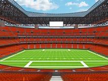 Estadio de fútbol americano moderno con los asientos anaranjados Fotografía de archivo