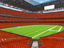 Estadio de fútbol americano moderno con los asientos anaranjados Imagenes de archivo