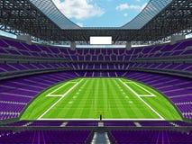 Estadio de fútbol americano moderno con los asientos púrpuras Imagen de archivo libre de regalías