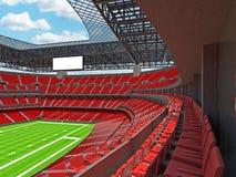 Estadio de fútbol americano moderno con los asientos rojos Fotografía de archivo libre de regalías