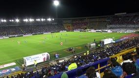 Estadio de fútbol, arena, campo, echada, deportes almacen de video