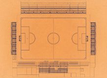 Estadio de fútbol - arquitecto retro Blueprint