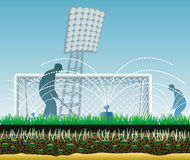 Estadio de fútbol con la estructura del césped. Fotografía de archivo libre de regalías