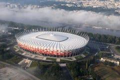 Estadio de fútbol nacional - opinión del helicóptero Fotos de archivo