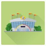 Estadio de fútbol que construye el ejemplo plano del vector del diseño Foto de archivo