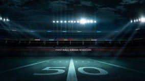 Estadio de fútbol vacío en rayos ligeros en la representación de la noche 3d Fotografía de archivo libre de regalías