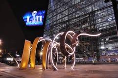 Estadio del banco de los E.E.U.U. de los Minnesota Vikings en Minneapolis en la noche, sitio del Super Bowl 52 Imagenes de archivo