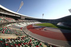 Estadio del d?namo despu?s de la reconstrucci?n antes de los juegos europeos I I en 2019 fotos de archivo