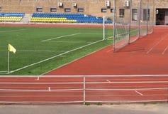 Estadio del deporte con el campo de fútbol y la puerta Foto de archivo