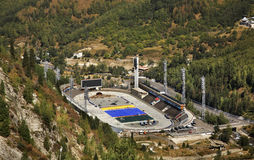 Estadio del hielo en Medeu kazakhstan foto de archivo