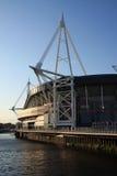 Estadio del milenio, Cardiff en la oscuridad Imagen de archivo libre de regalías