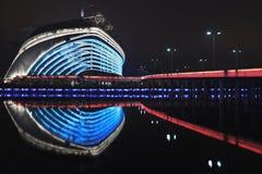 Estadio en la noche, Guangzhou, China de los Juegos Asiáticos Imagenes de archivo