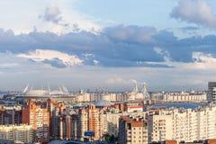 Estadio en St Petersburg Rusia para el mundial 2018 de la FIFA y el euro de la UEFA 2020 eventos Imagen de archivo libre de regalías
