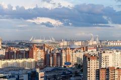 Estadio en St Petersburg Rusia para el mundial 2018 de la FIFA y el euro de la UEFA 2020 eventos Imágenes de archivo libres de regalías