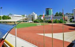 Estadio grande de la escuela de los deportes foto de archivo