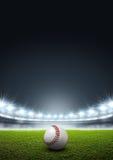 Estadio iluminado con focos genérico con béisbol stock de ilustración