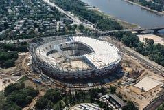 Estadio nacional en Varsovia bajo construcción - visión aérea Fotos de archivo