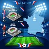 Estadio París infographic Parc de Príncipe de Francia Frances y Stade de Nice Imagenes de archivo