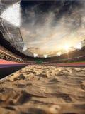 Estadio y fans Pista para saltar Campo de la arena ilustración 3D imágenes de archivo libres de regalías