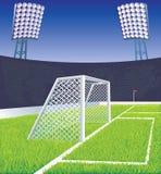 Estadio y meta de fútbol. Imagen de archivo