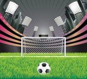 Estadio y meta de fútbol. Imagenes de archivo