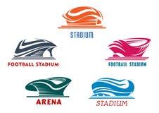 Estadios abstractos modernos del deporte que construyen iconos ilustración del vector