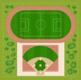 Estadios de béisbol stock de ilustración