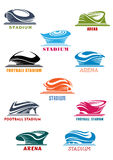 Estadios de los deportes e iconos de la arena stock de ilustración