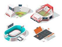 Estadios del béisbol, del fútbol, del hockey y del baloncesto exteriores Edificios en estilo isométrico ilustración del vector