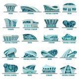 Estadios del fútbol o de fútbol o arenas atléticas stock de ilustración