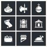 Estado antigo de Moscou do russo e os ícones do principado ajustados Ilustração do vetor Foto de Stock Royalty Free